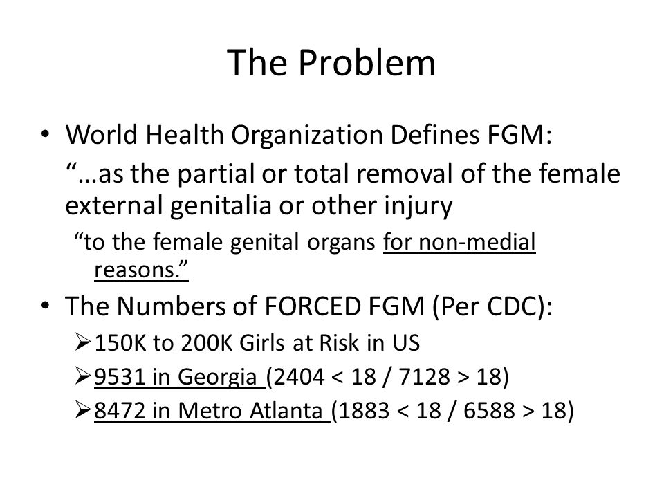 The Problem World Health Organization Defines FGM: