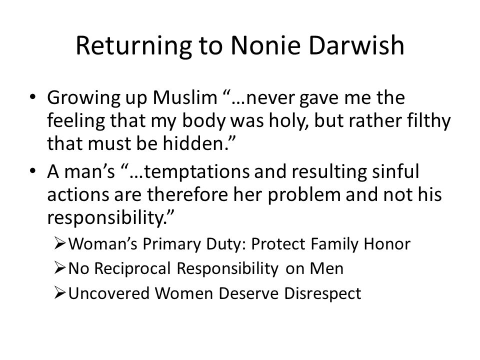 Returning to Nonie Darwish