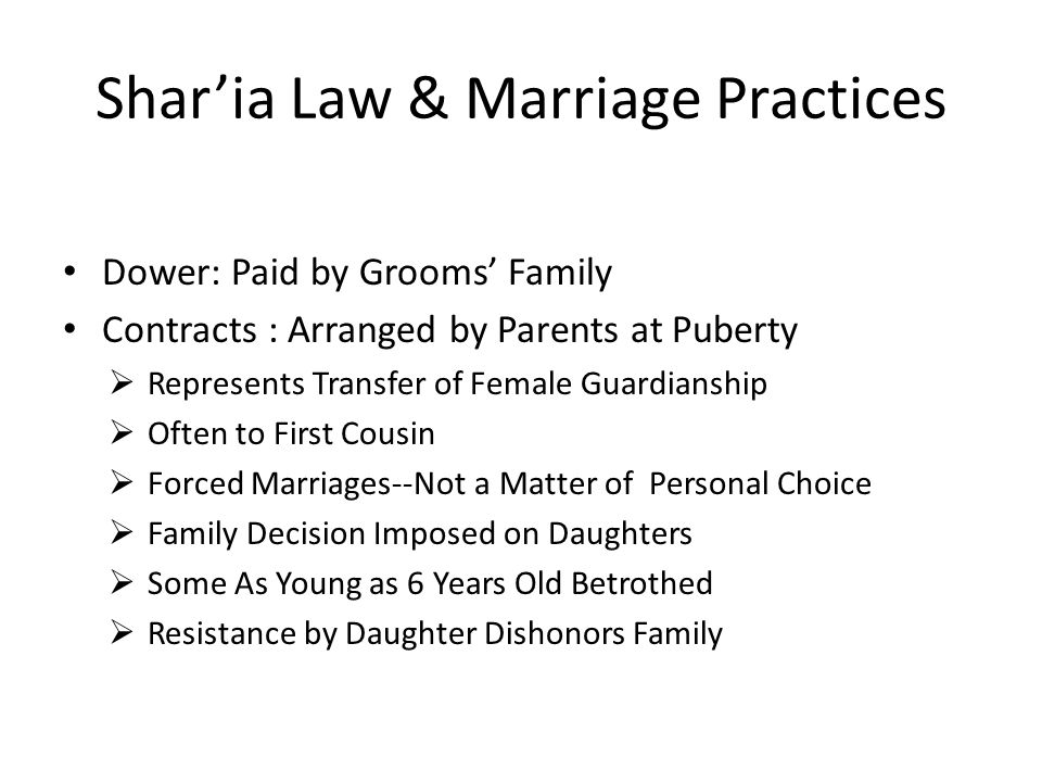 Shar'ia Law & Marriage Practices