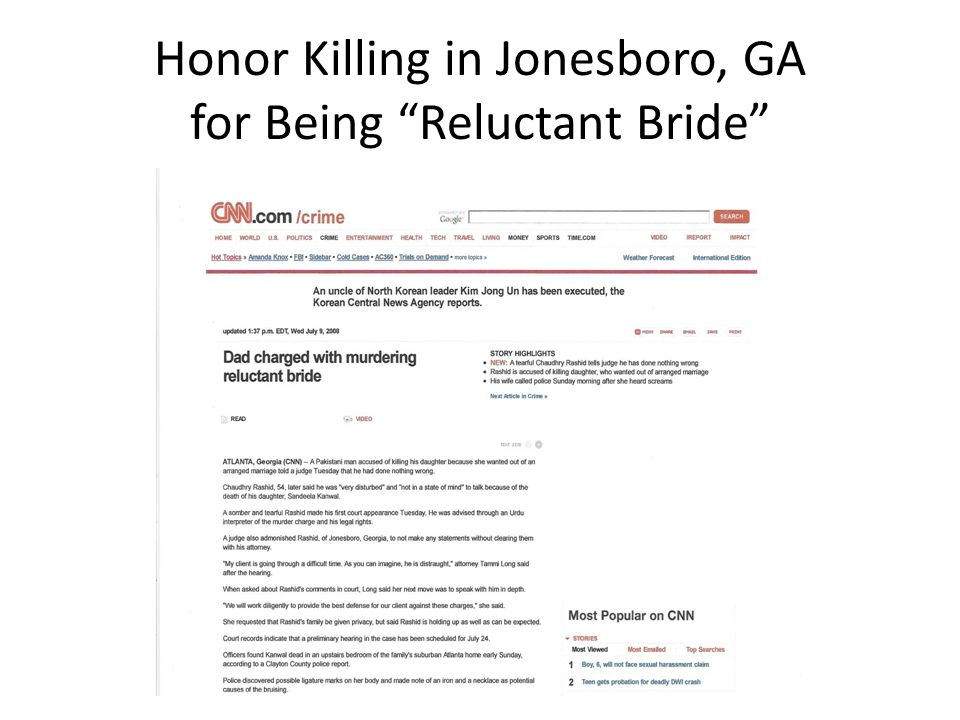 Honor Killing in Jonesboro, GA for Being Reluctant Bride