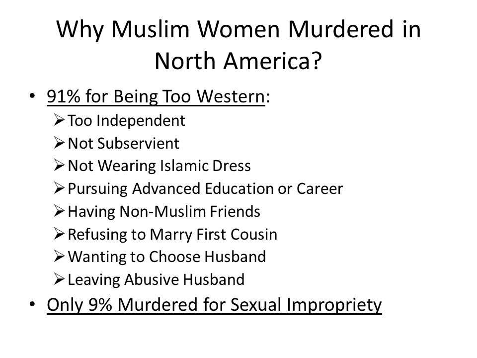 Why Muslim Women Murdered in North America