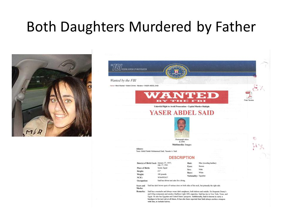 Both Daughters Murdered by Father