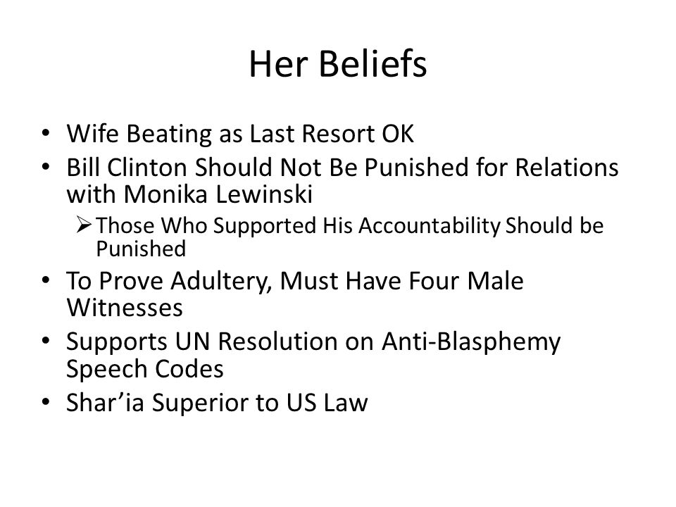 Her Beliefs Wife Beating as Last Resort OK