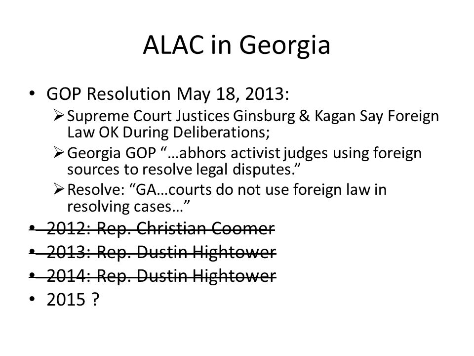 ALAC in Georgia GOP Resolution May 18, 2013: