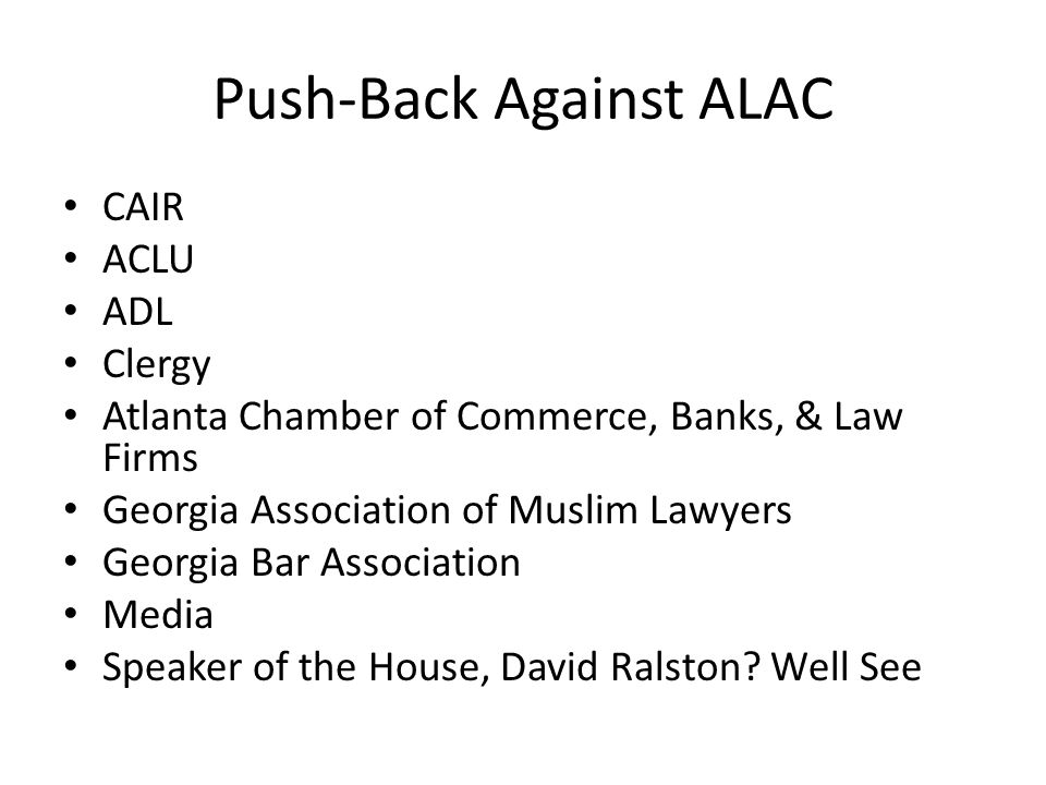 Push-Back Against ALAC