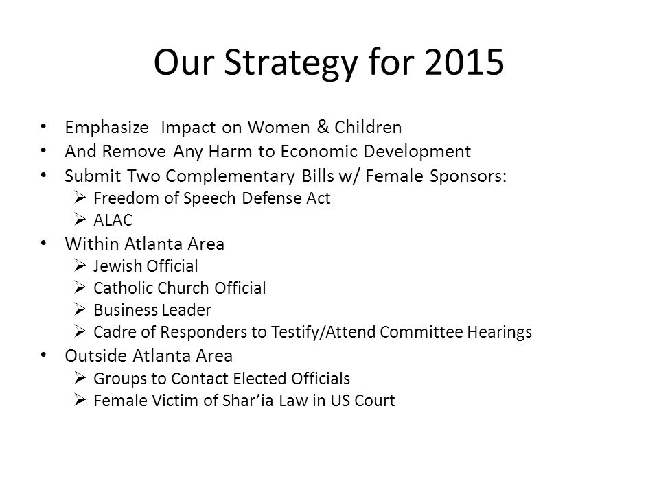 Our Strategy for 2015 Emphasize Impact on Women & Children