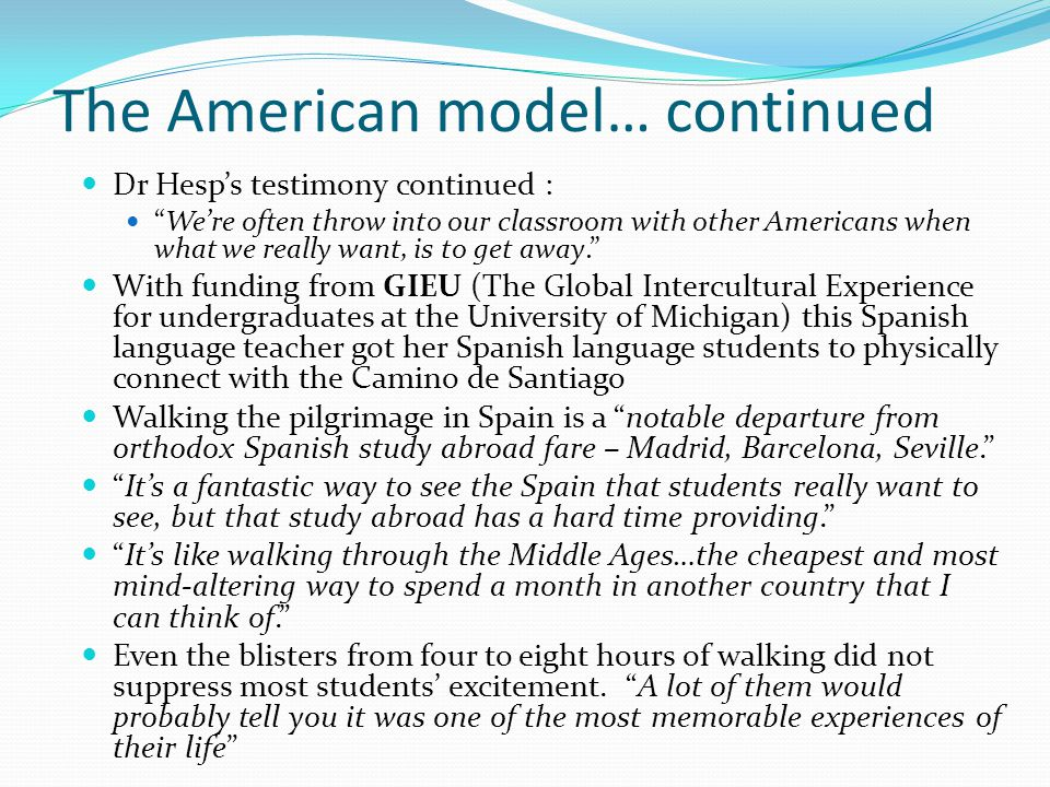 The American model… continued