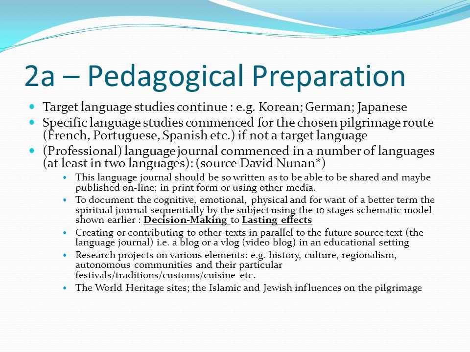 2a – Pedagogical Preparation