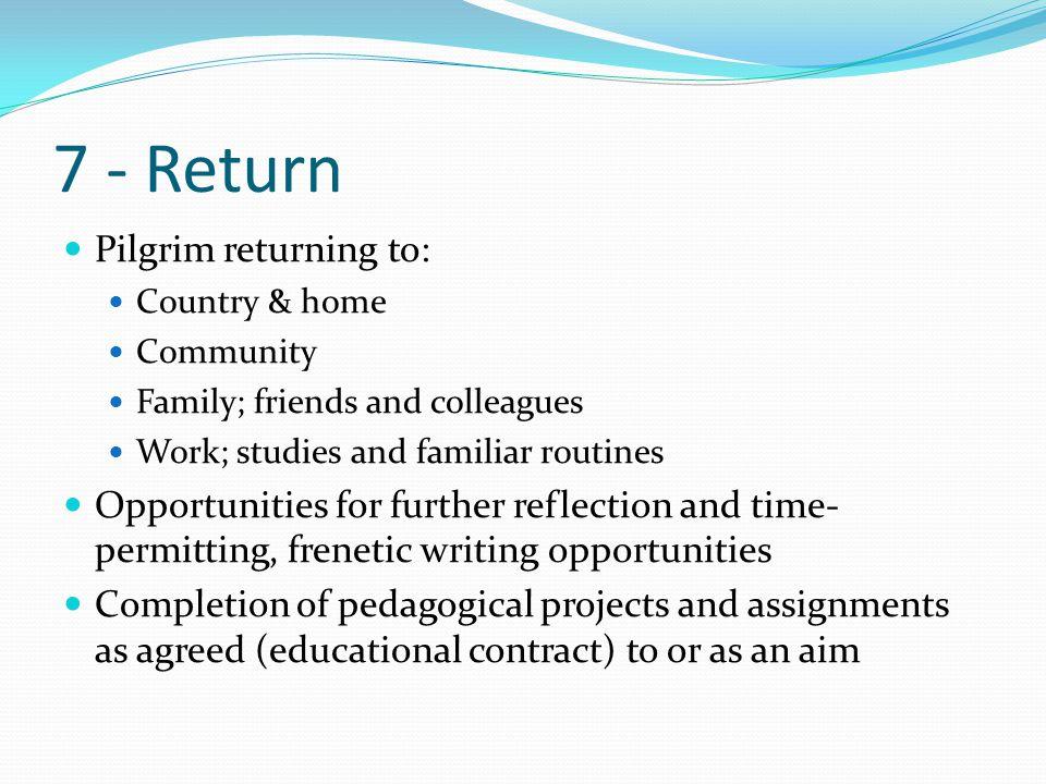 7 - Return Pilgrim returning to: