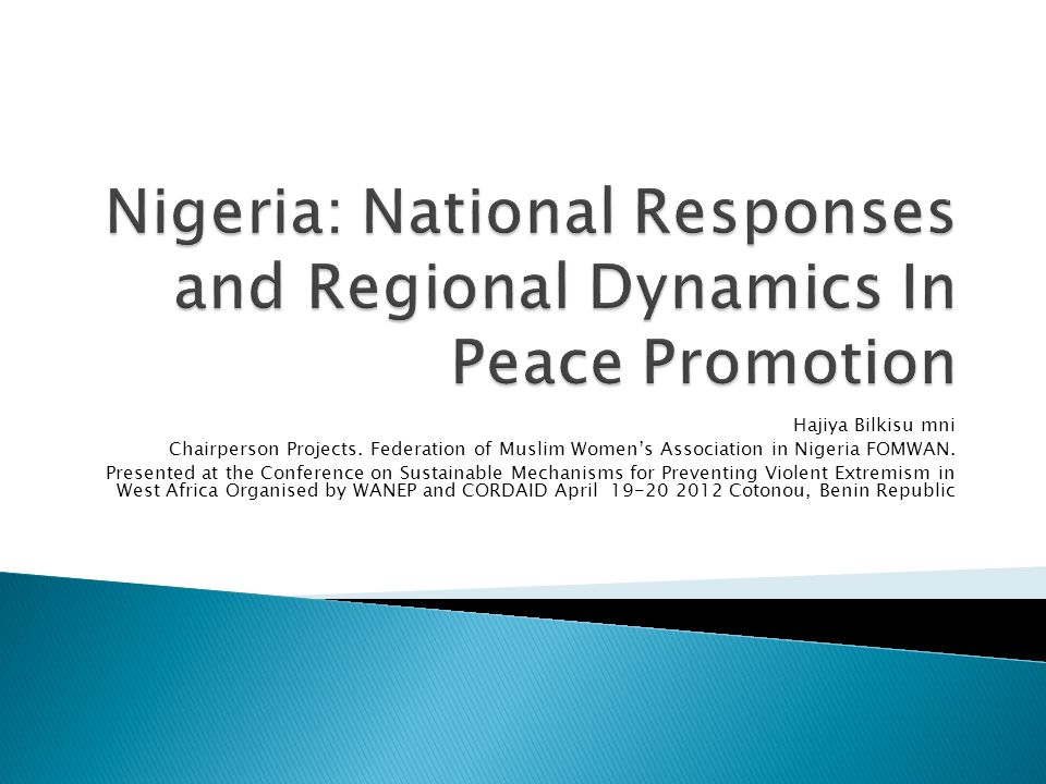 Nigeria: National Responses and Regional Dynamics In Peace Promotion