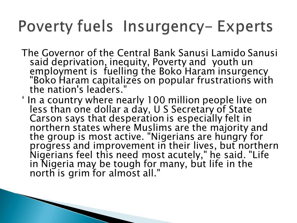 Poverty fuels Insurgency- Experts