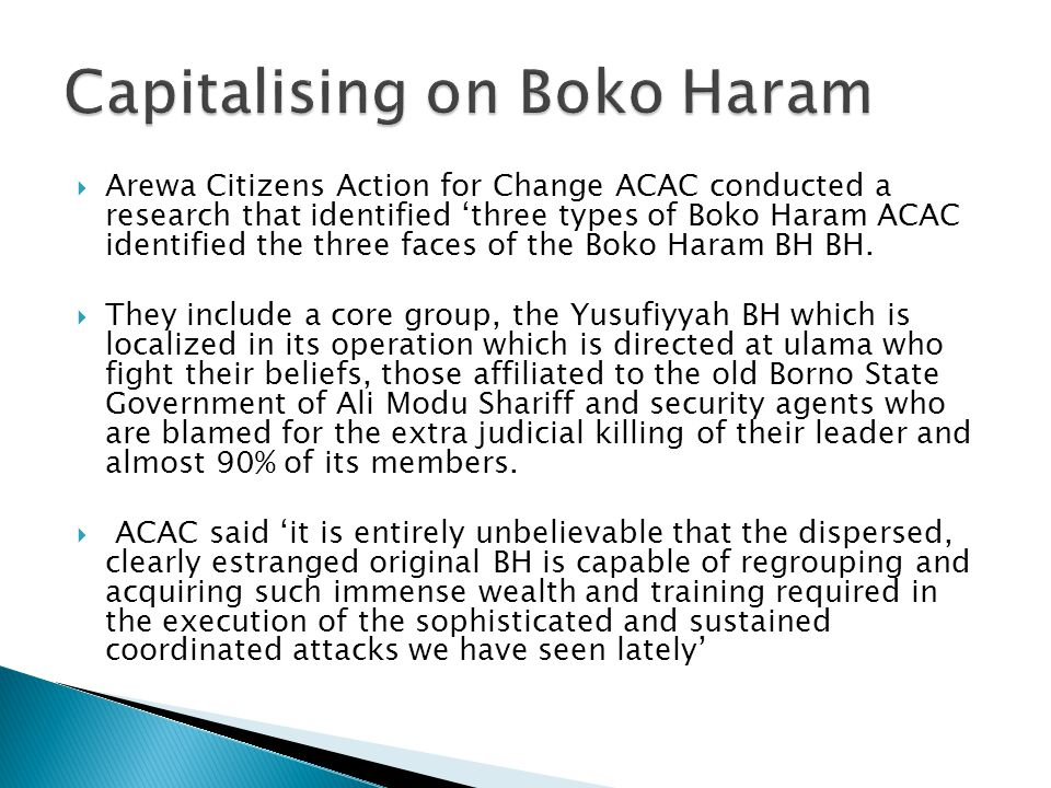 Capitalising on Boko Haram