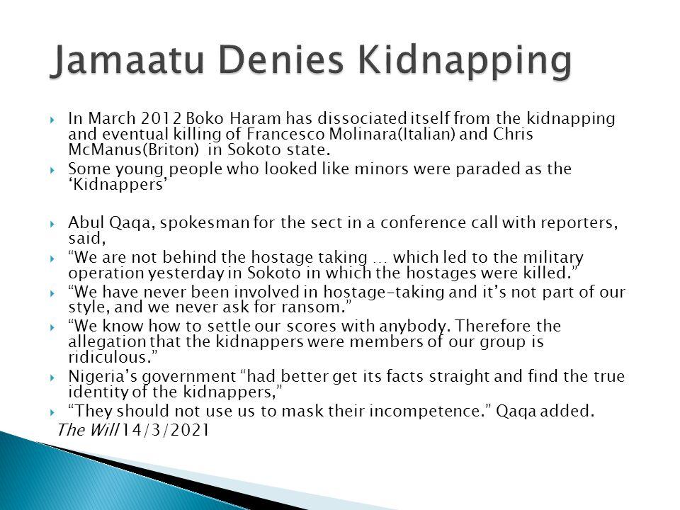Jamaatu Denies Kidnapping