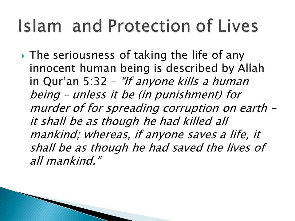 Islam and Protection of Lives