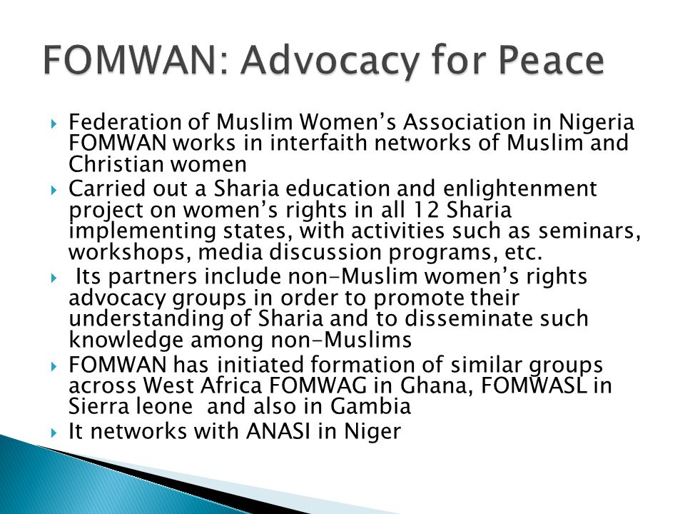 FOMWAN: Advocacy for Peace