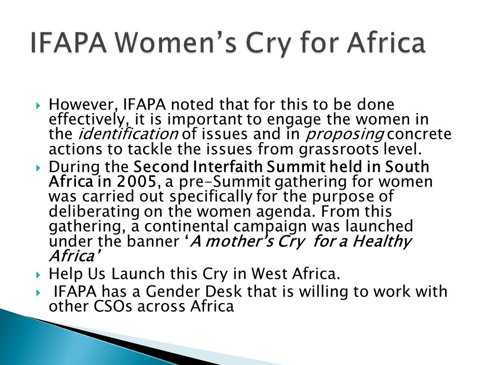 IFAPA Women's Cry for Africa