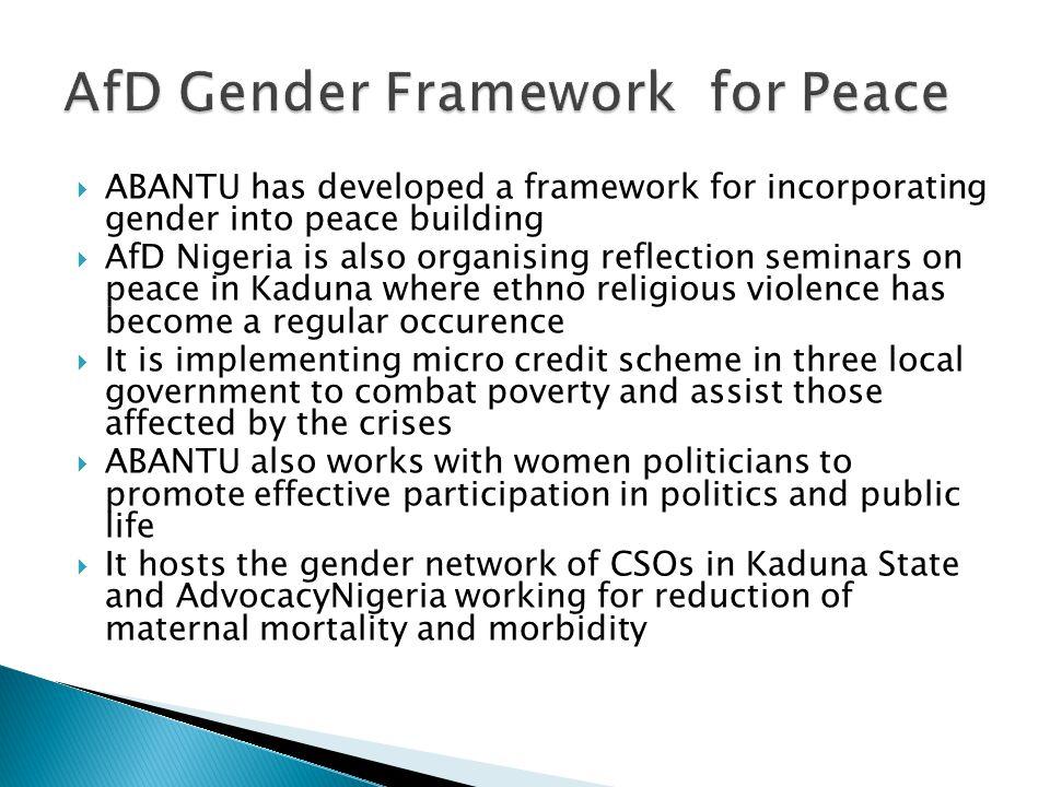 AfD Gender Framework for Peace