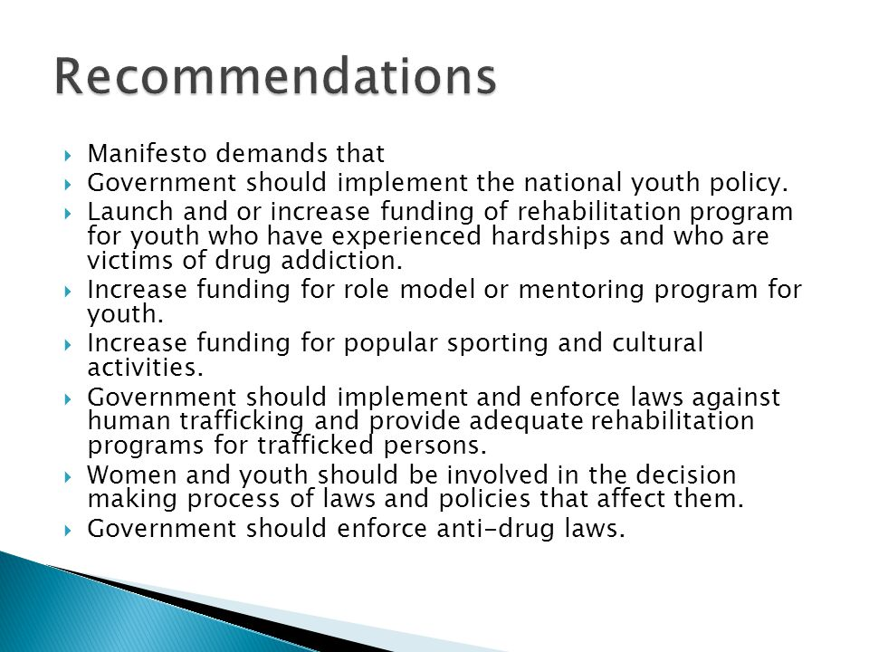 Recommendations Manifesto demands that