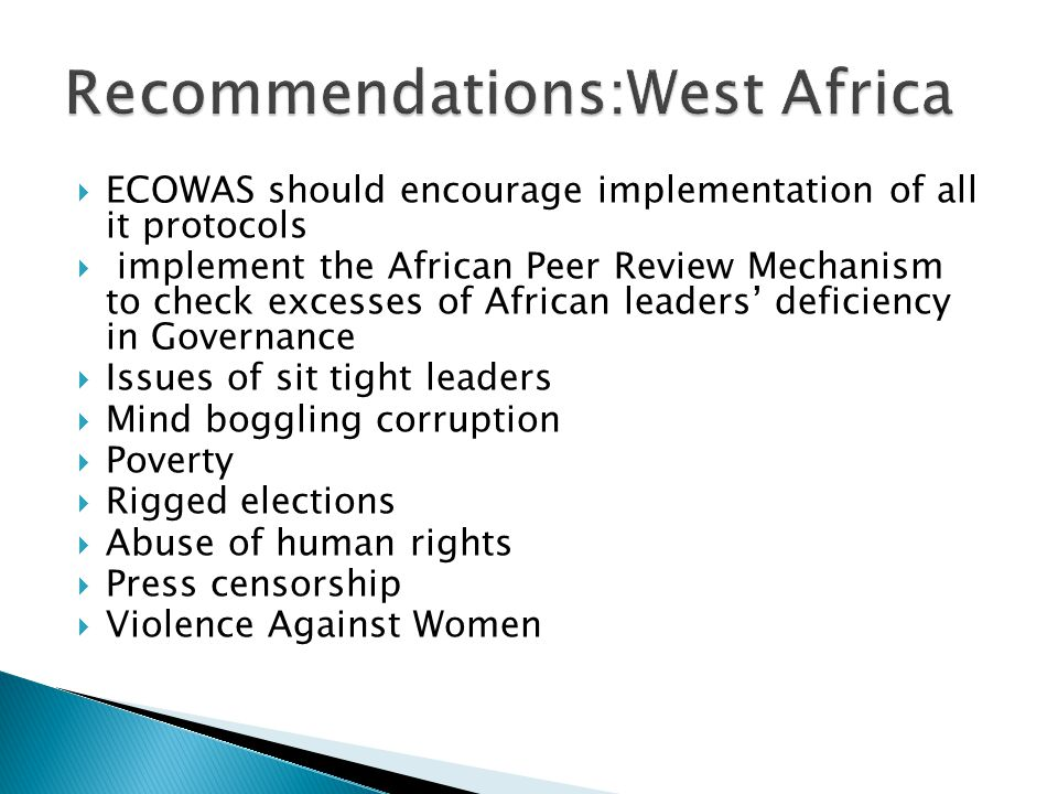 Recommendations:West Africa