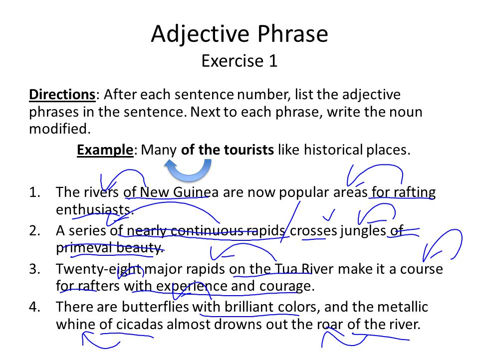 Adjective Phrase Exercise 1