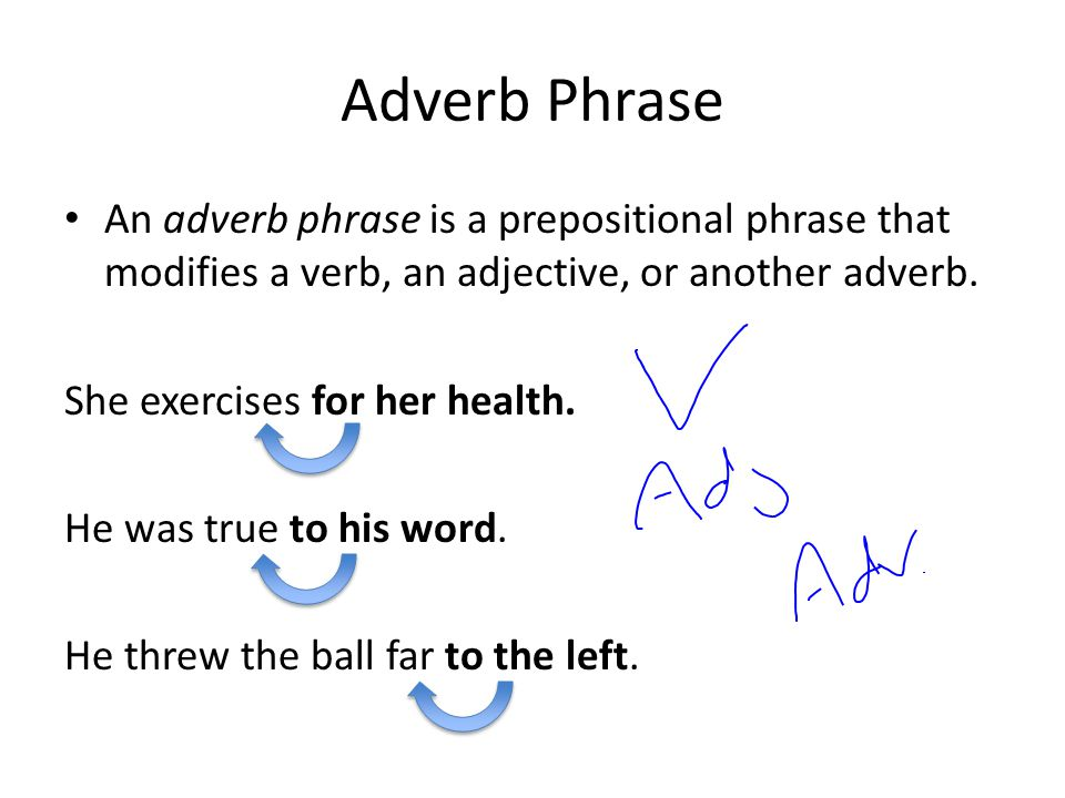 Adverb Phrase An adverb phrase is a prepositional phrase that modifies a verb, an adjective, or another adverb.