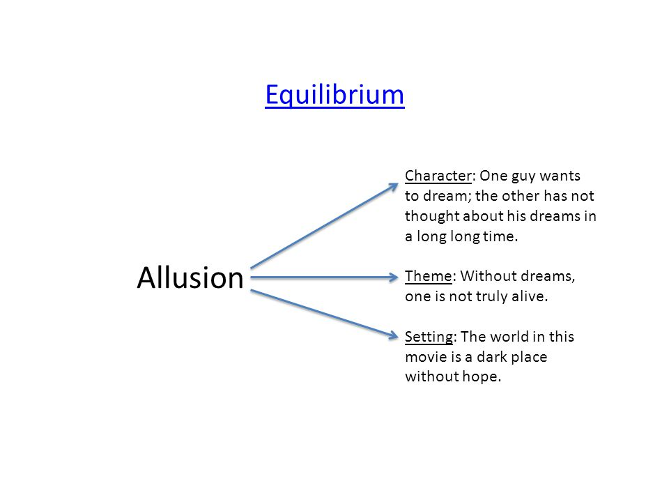 Equilibrium Character: One guy wants to dream; the other has not thought about his dreams in a long long time.