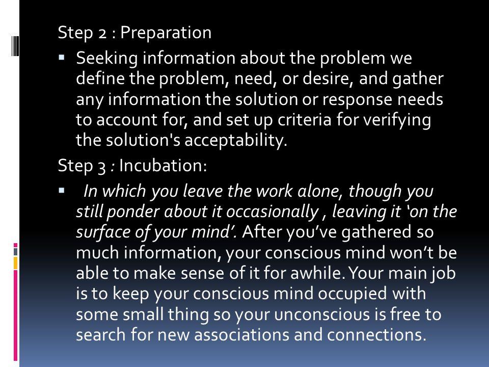 Step 2 : Preparation