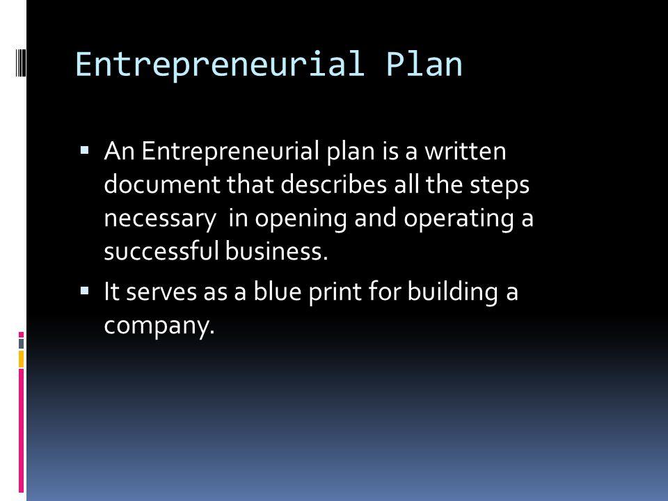 Entrepreneurial Plan