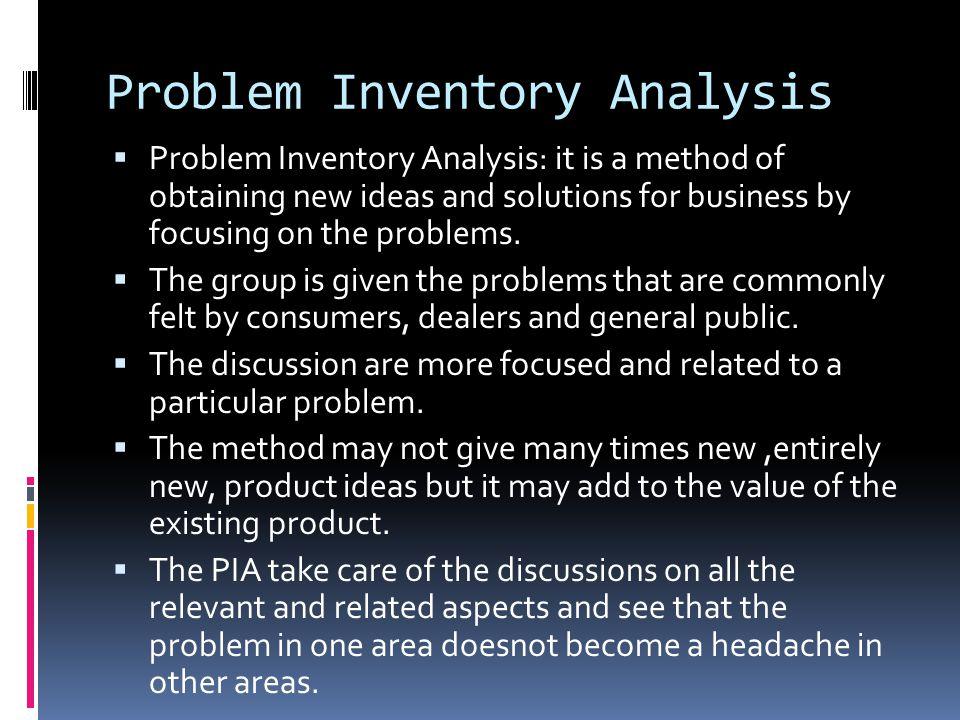 Problem Inventory Analysis