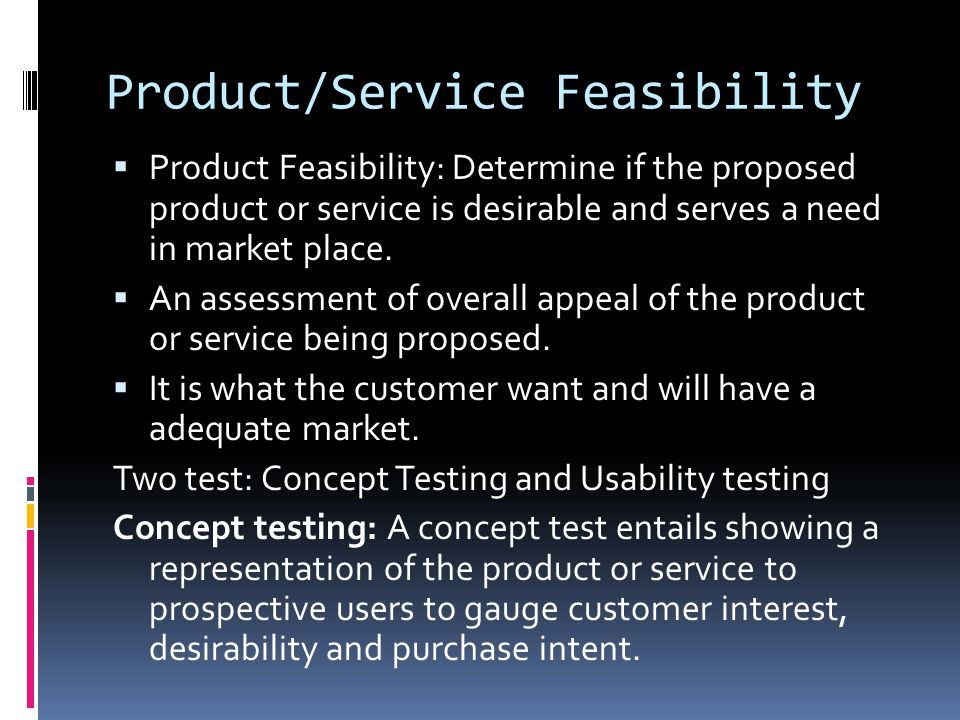 Product/Service Feasibility