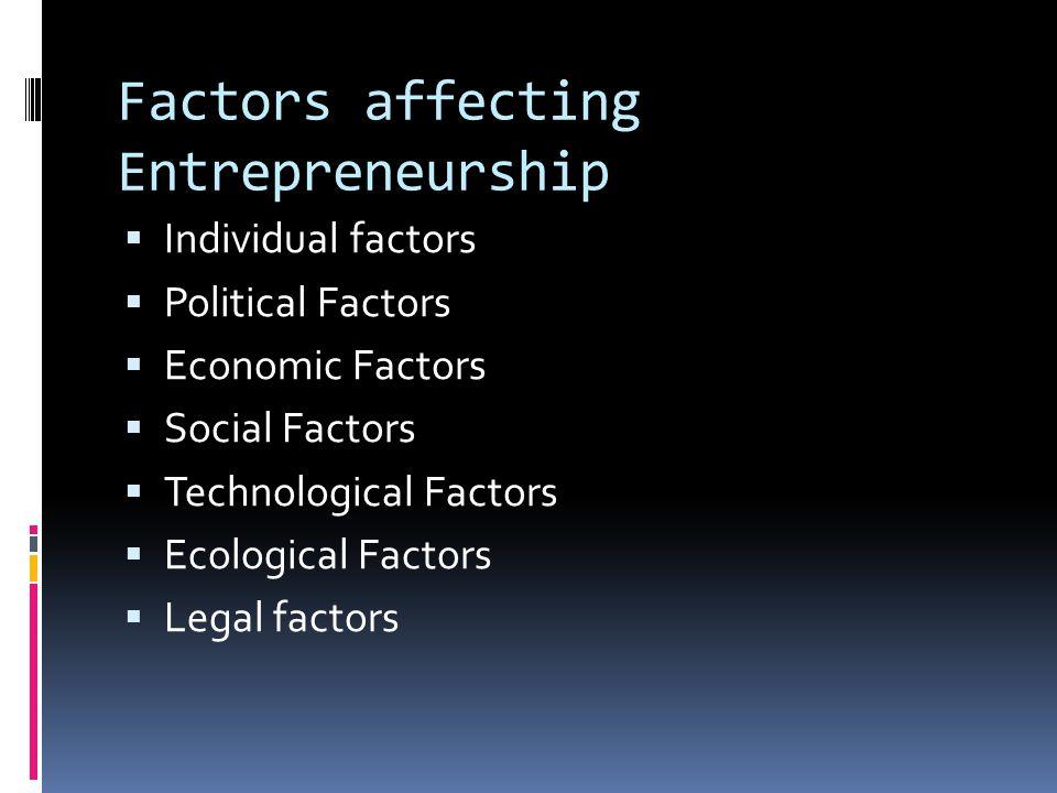 Factors affecting Entrepreneurship