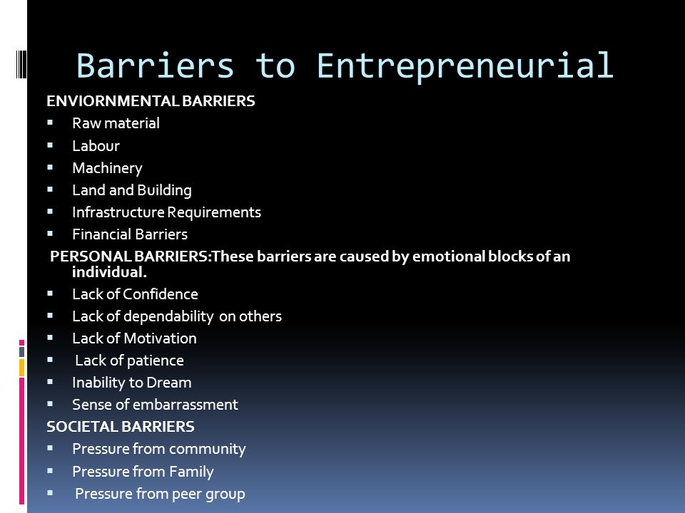 Barriers to Entrepreneurial