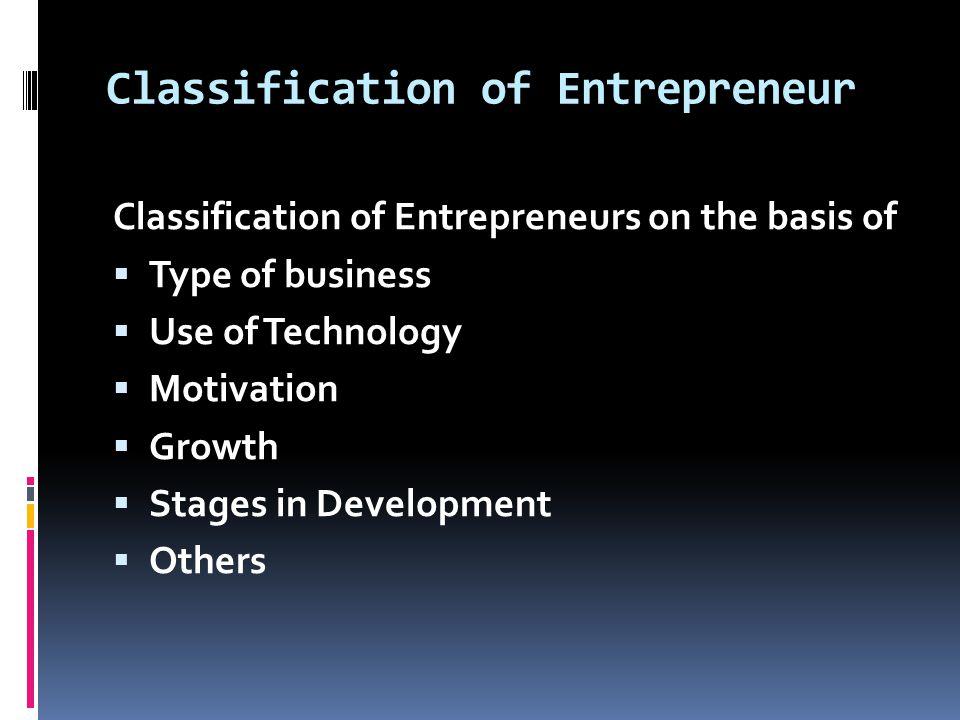 Classification of Entrepreneur