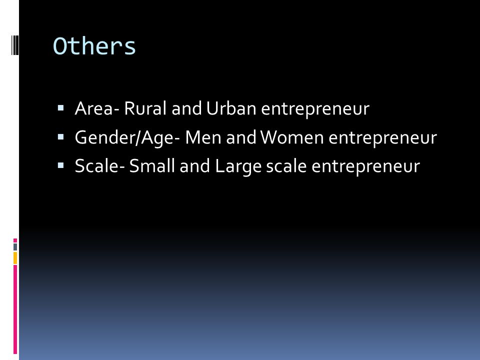 Others Area- Rural and Urban entrepreneur