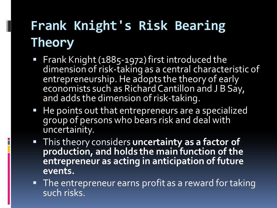 Frank Knight s Risk Bearing Theory
