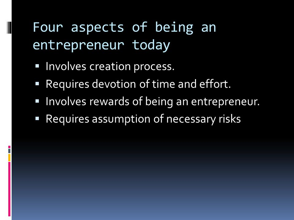 Four aspects of being an entrepreneur today
