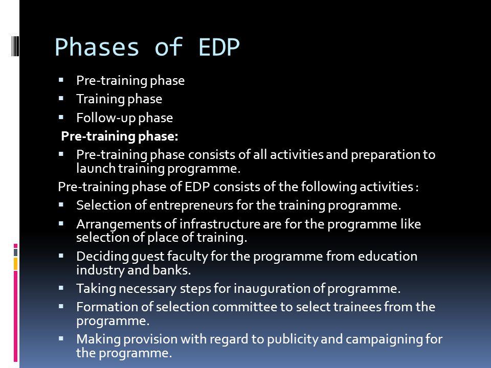 Phases of EDP Pre-training phase Training phase Follow-up phase