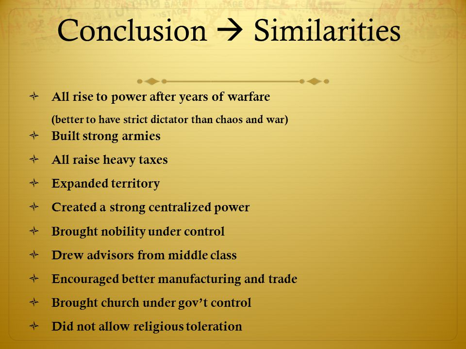 Conclusion  Similarities