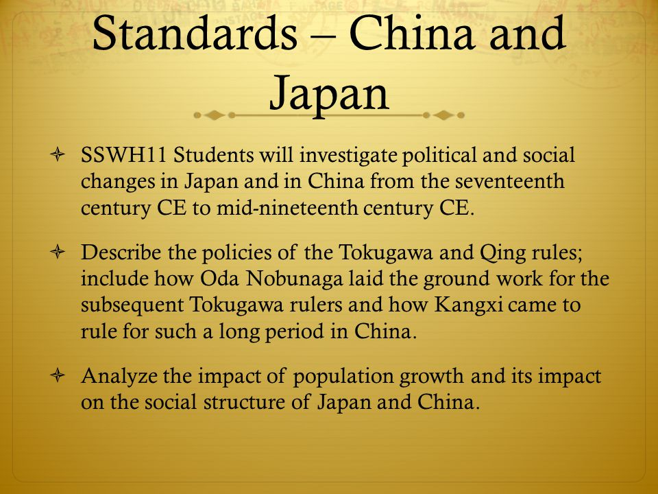 Standards – China and Japan