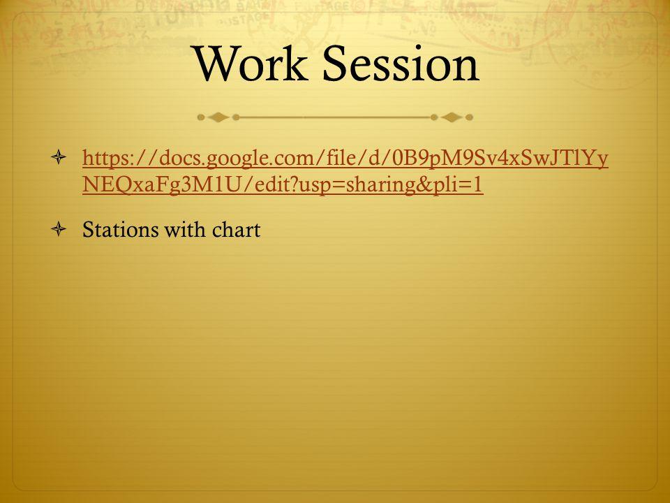 Work Session https://docs.google.com/file/d/0B9pM9Sv4xSwJTlYy NEQxaFg3M1U/edit usp=sharing&pli=1.