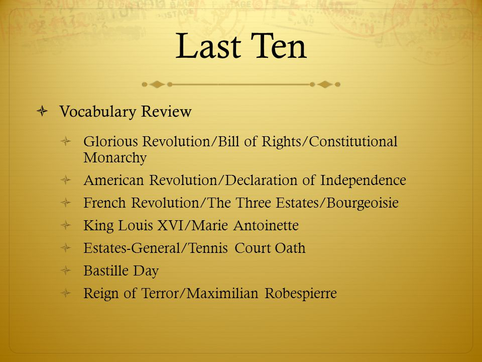 Last Ten Vocabulary Review