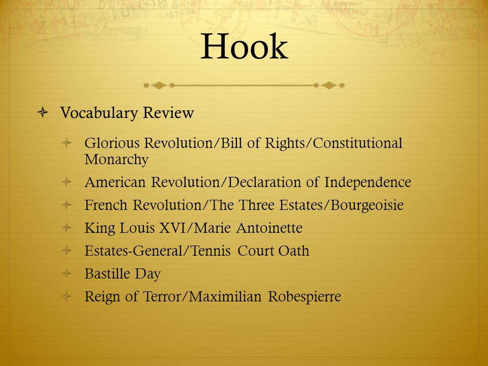 Hook Vocabulary Review