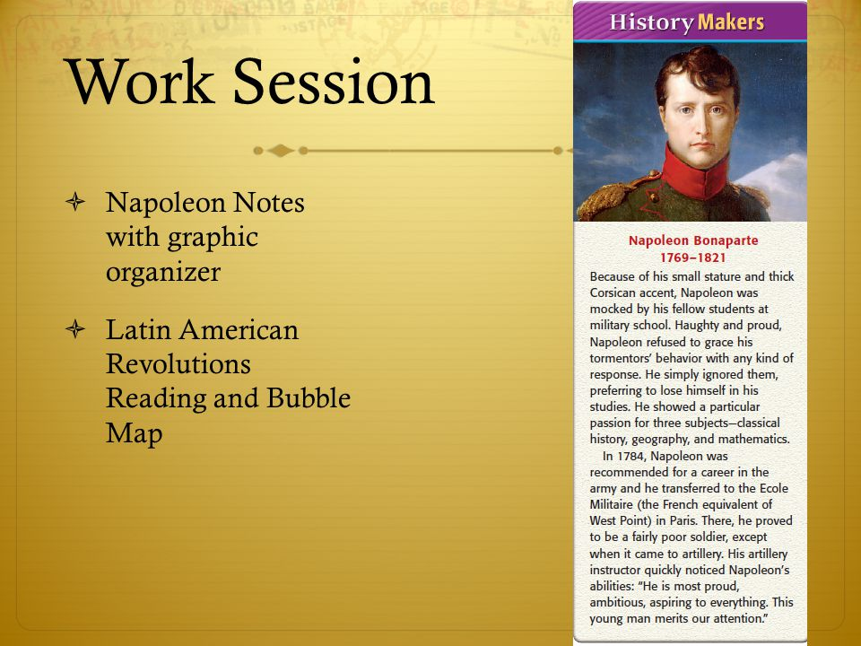 Work Session Napoleon Notes with graphic organizer