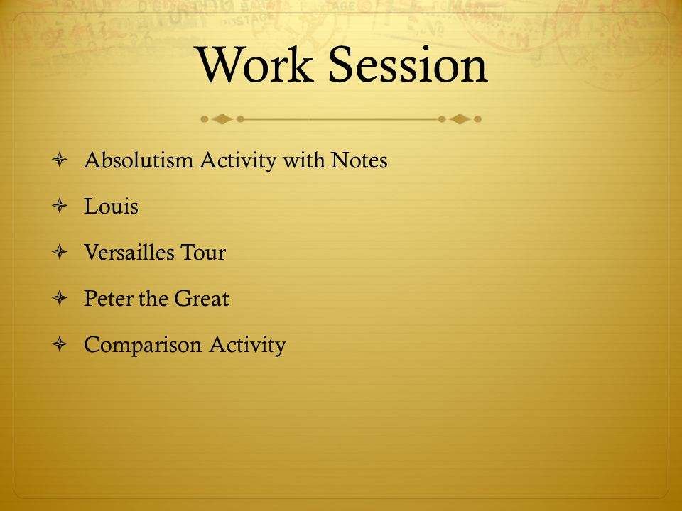 Work Session Absolutism Activity with Notes Louis Versailles Tour
