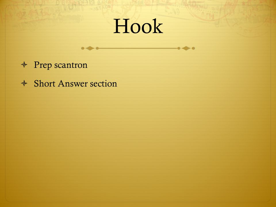 Hook Prep scantron Short Answer section