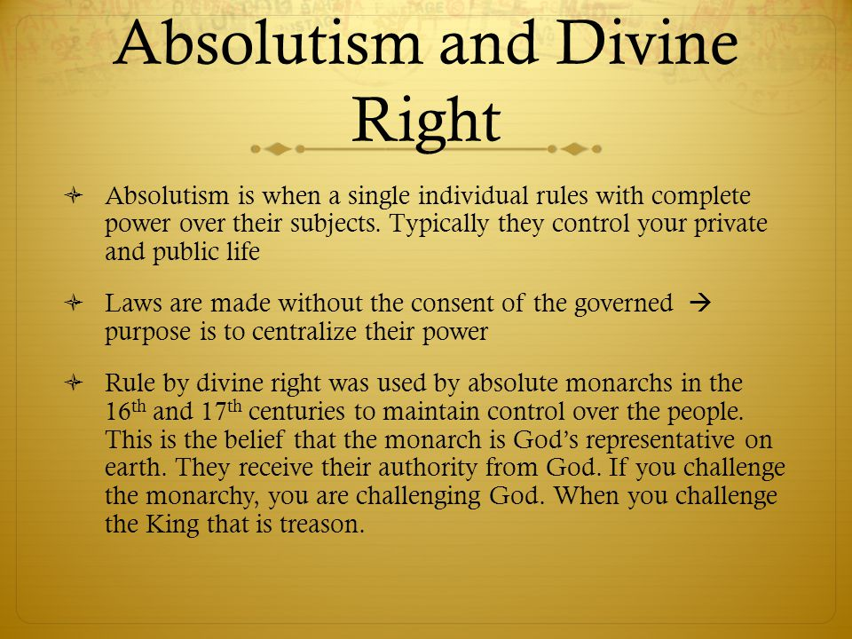 Absolutism and Divine Right