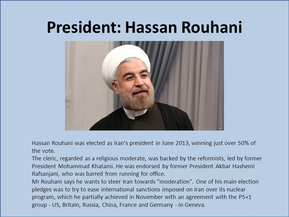 President: Hassan Rouhani