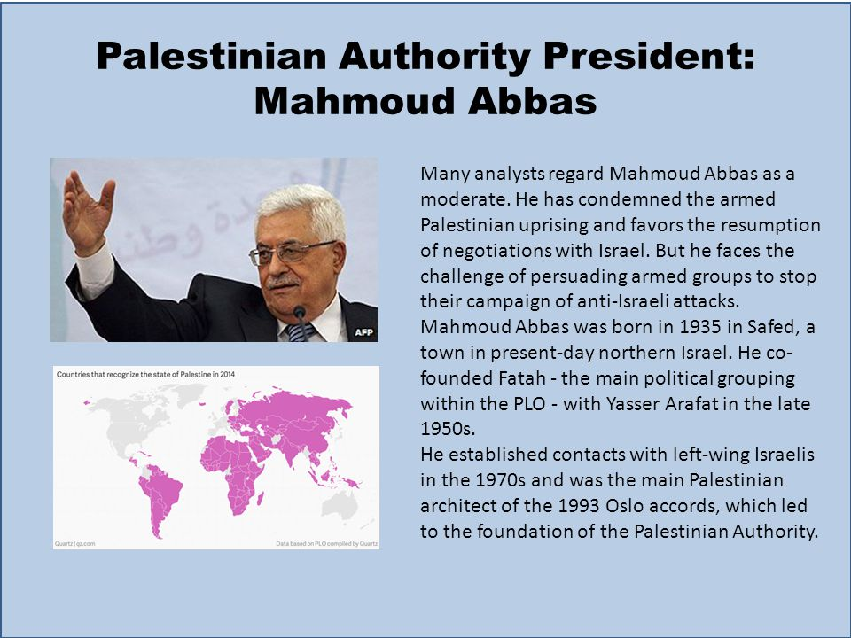 Palestinian Authority President: Mahmoud Abbas