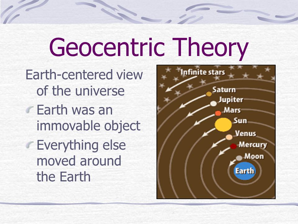 Geocentric Theory Earth-centered view of the universe