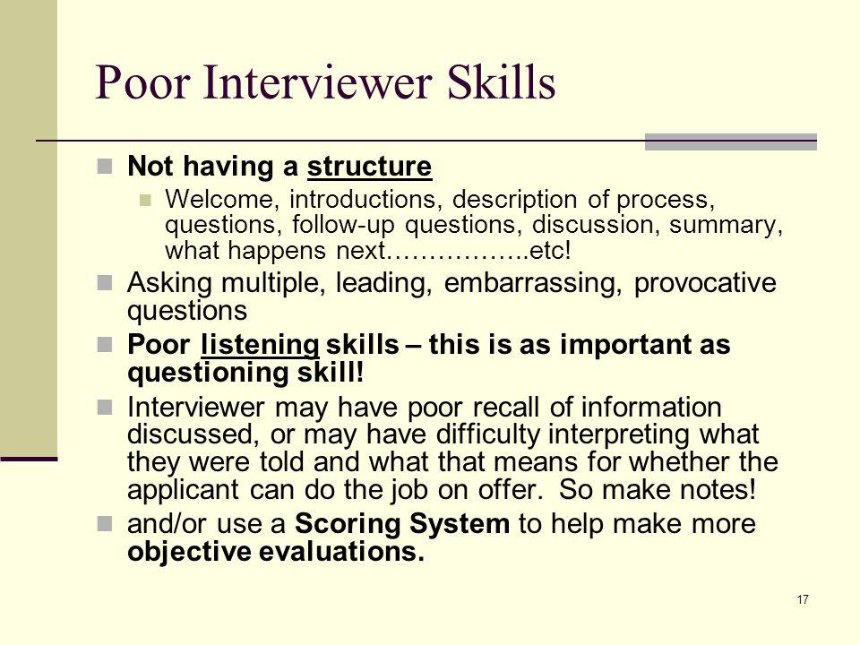 Poor Interviewer Skills